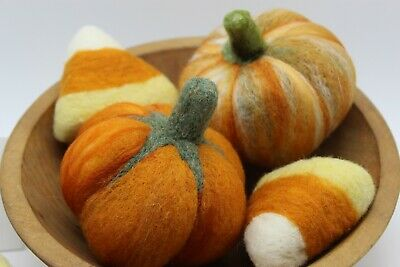 Halloween Thanksgiving Primitive bowl fillers pumpkins candy corn Needle Felted