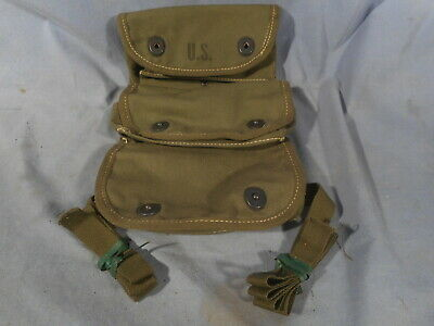 WW2, WWII US Army 3 Pocket Grenade Ammo Pouch Medic 1945 Tulsa Canvas Products
