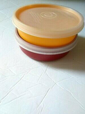Vintage Tupperware Little Wonders Bowls 1286 Harvest Colors Set of 2 Red& Yellow