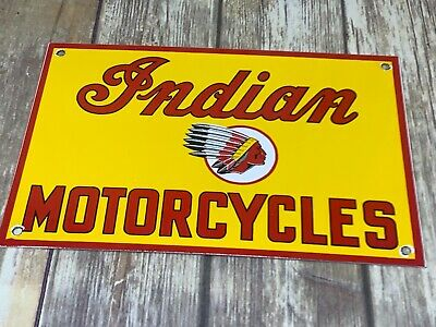 Vintage Indian Motorcycles Porcelain Enamel Dealership Advertising Gas Oil Sign