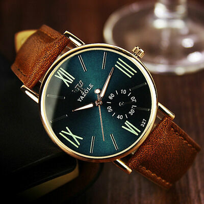 NEW Men's Date Leather Stainless Steel Sport Quartz Noctilucent Wrist Watch Gift