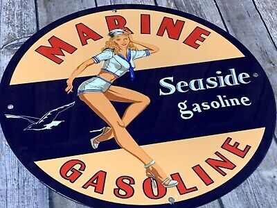 "Vintage Marine Gasoline Seaside Gas Porcelain Enamel Sign 12"" Oil Pump Plate Nos"
