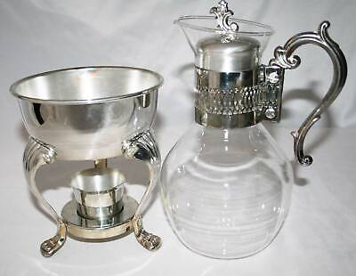 FB Rogers Silverplate Provincetown Glass Carafe Coffee Warmer  #995