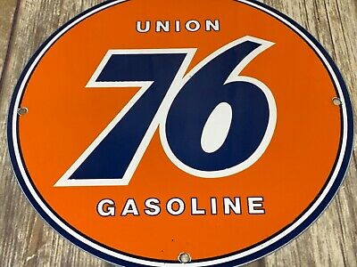 "Vintage Union 76 Gasoline Porcelain Enamel Sign 12"" Gas Oil Pump Plate Car Motor"