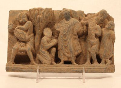 Gandharan Schist Carving of Buddha with Attendants 2nd -3rd c