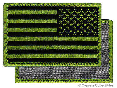 AMERICAN FLAG BIKER PATCH GREEN LEFT embroidered USA w/ VELCRO® Brand Fastener