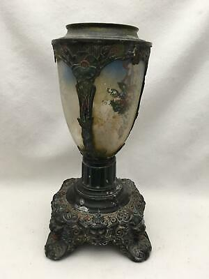 "Ornate Antique 12.5"" Lamp Base Reverse Painting on Glass Panels Lion Heads Feet"