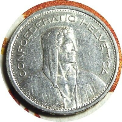 elf Switzerland 5 Francs 1954 B  Silver  William Tell