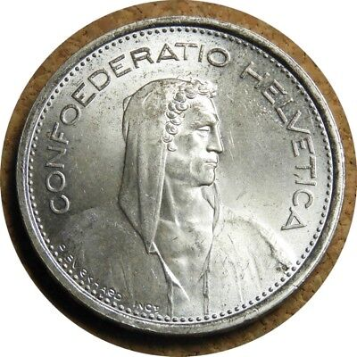 elf Switzerland 5 Francs 1967 B  Silver  William Tell