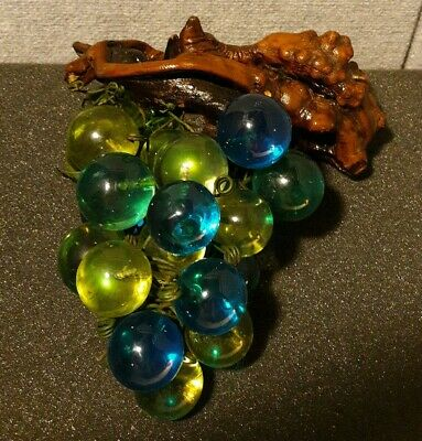 Vintage Blue Green Mid Century Lucite /Acrylic Grape Cluster & Driftwood Excell