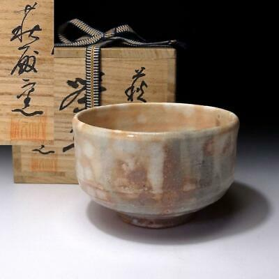 YM6: Vintage Japanese Tea Bowl, Hagi Ware with Signed wooden box