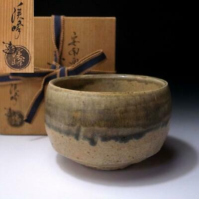 LE18: Vintage Japanese Pottery Tea Bowl, Kyo ware with Signed wooden box