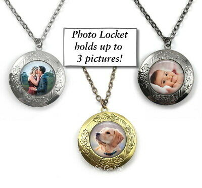 Your Custom Photo Round Floral Locket in Silver, Gunmetal, Rose Gold or Bronze