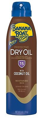 New Banana Boat Protective Dry Oil Clear Sunscreen Spray SPF 15 6 Oz