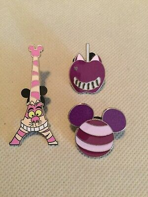 Lot of 3 Disney pins Cheshire Cat from Alice in Wonderland authentic tradable