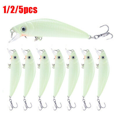 Quaility Swim Portable Crank Bait Night Fishing Lure Luminous Minnow VIB Popper