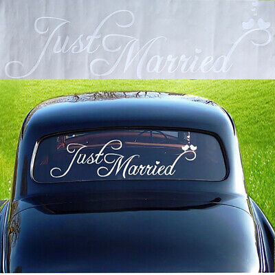 KQ_ EB_ Just Married Wedding Car Vehicle Rear Window Banner Sticker Decal Decor