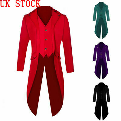 Retro Victorian Steampunk Swalow Gothic Tailcoat Men Jacket Ringmaster Tail Coat