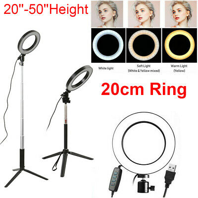 Studio LED Ring Light w/ Tripod Stand Dimmable Photo Video Lamp Kit For Camera