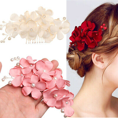 Romantic Bridal Wedding Bridesmaid Flower Crystal Hair Combs Red/Pink/Champagne