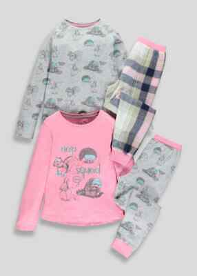 Girls BNWT 2 pack pink check woodland Pyjamas   Matalan (CH)