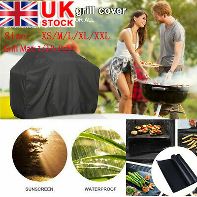 Waterproof BBQ Cover+Grill Mat Protector for Outdoor Garden Patio Barbecue UK