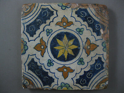 antike polychrome Ornament Fliese Kachel Tegel Dutch Tiles - 16 Jahrhundert