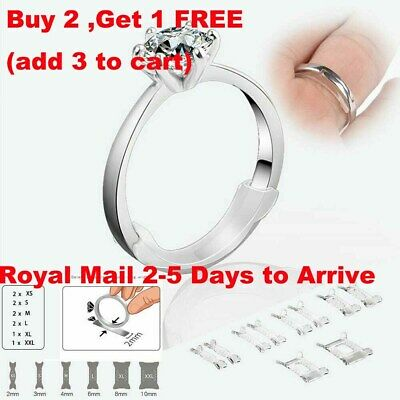 10Pcs Set Invisible Design Ring Size Clip Guard Resizer Adjuster Reducer UK