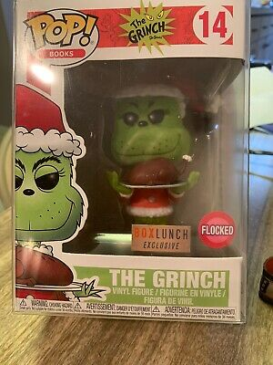 Funko Pop #14 Dr. Seuss The Grinch Flocked Box Lunch Exclusive w/ Pop Protector