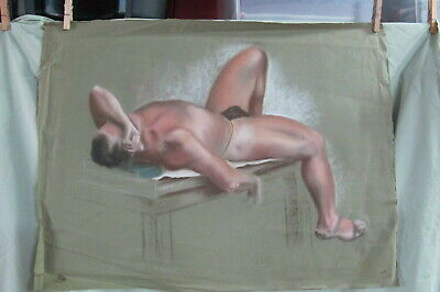 Vintage Pastel ART Drawing of  Nude Man laying on Table
