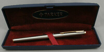 Parker 180 Flighter Stainless Steel & Gold Rollerball Pen - 1970's - Made in USA