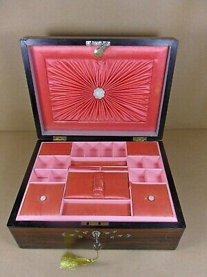 ANTIQUE VICTORIAN FIGURED ROSEWOOD JEWELLERY/SEWING  BOX.C1850-1870 (Code 522)