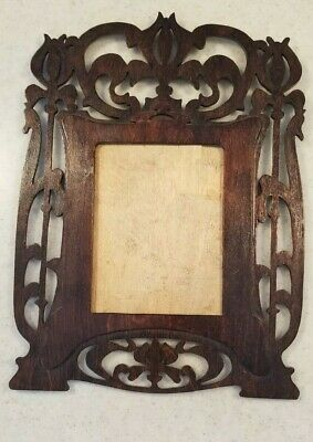Antique Adirondack Black Forest Picture Frame Fretwork Scroll Wood Fancy Design