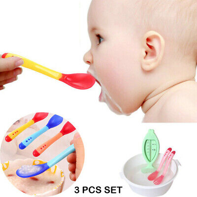 Baby Feeding Spoon Silicone Infant Temperature Sensing Weaning Soft Head Spoons