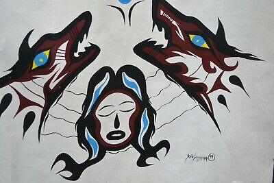 "Canadian Native Artist Noel Sainnawap Painting ""Protection from the Wolves"""
