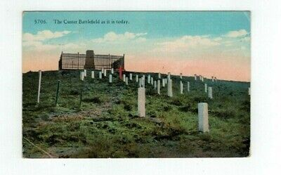 """MT Montana antique post card """"The Custer Battlefield as it is today"""""""