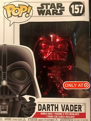 FUNKO POP! STAR WARS TARGET REDCARD EXCLUSIVE RED CHROME DARTH VADER #157 New