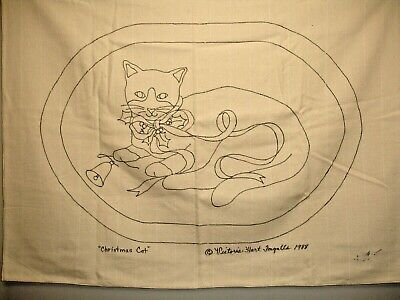 Rug Hooking Pattern, Monks Cloth, Christmas Cat 43 X 33 inches,  1988