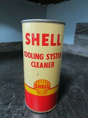 c1940-50s Shell Oil Co Cooling System Cleaner - Gas & Oil Advertising Tin