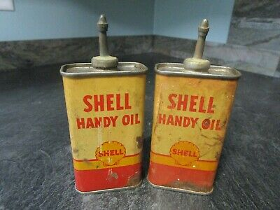 Lot of 1940-50s Shell Oil Co Handy Oil Lead Top Cans - Gas & Oil Advertising Tin