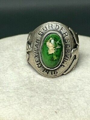 Vintage Antique Sterling Silver Mexican Border Service Ring