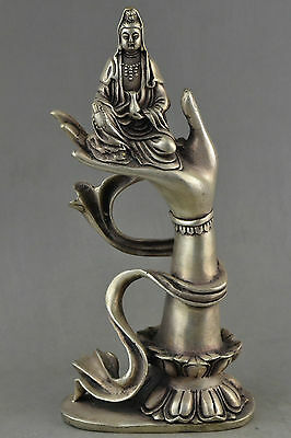 Collectible Decorated Tibet Silver Carved Kwan-yin Sit In Buddha Hand Statue