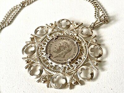 Vintage SOLID Silver MEDALLION 1931 Three Pence & LONG Chain Necklace 25inch