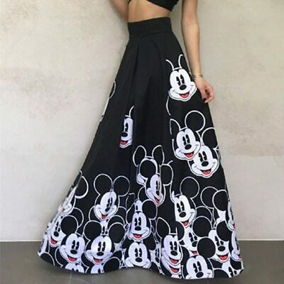 Women Fashion Long Skirt Floor Length Ladies Elastic High Waist Mickey Mouse
