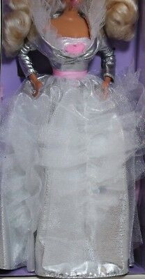 Beautiful Barbie silver gown dress fits most barbie fashion dolls