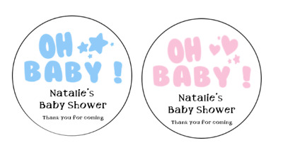 24 x 40mm Round Ready To Pop Baby Shower Stickers Pregnant Mum Labels PINK