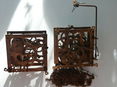 Two Antique 30 Hour Cuckoo Clock Movements for Parts or Repair