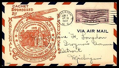 North Carolina Raleigh First Night Flight Am 19 June 1 1932 Shumaker Cover