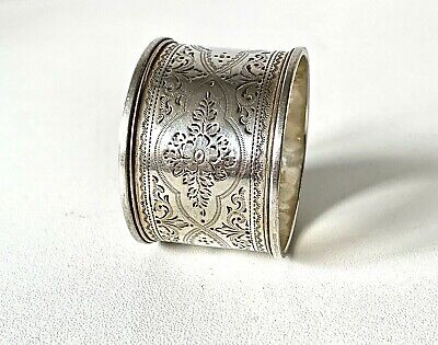 Antique 1902 Solid Sterling Silver Floral Engraved Beautiful Napkin Ring - 34g