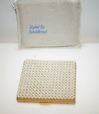 Vintage Styled By Schildkraut Faux Pearls Powder Compact Puff Mirror